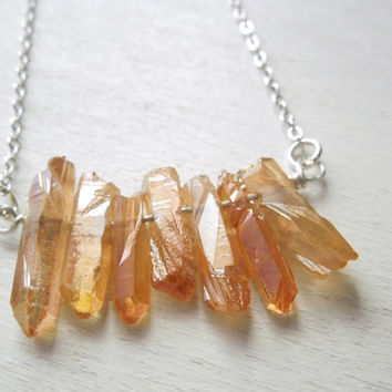 Peachy Orange Titanium Quartz Necklace - Natural Quartz Points with Titanium Pendant Necklace Silver Chain no.9