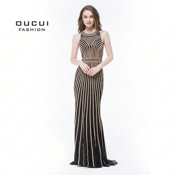 Real Photos Tulle Crystal Royal Blue Color Party Occasion Formal Long Evening Dress OL102913