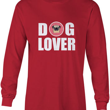 Fawn Pug Dog Lover Long Sleeve Red Unisex Tshirt Adult Medium BB5332-LS-RED-M