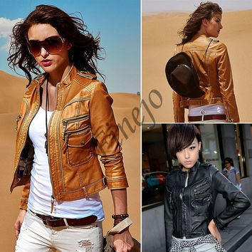Cool New Motorcycle Faux Leather Jacket Women Jackets Ladies Coat Outerwear  SV007032