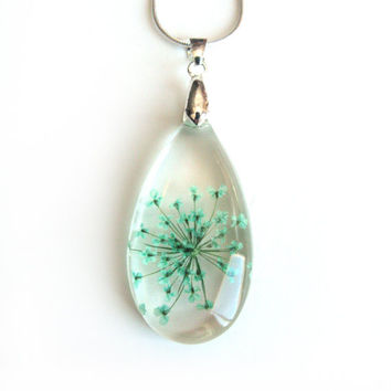 Teal Turquoise Queen Anne Lace Necklace - Real Flower Encased in Resin - Pressed Flower Jewelry - Resin Necklace - Resin Jewelry