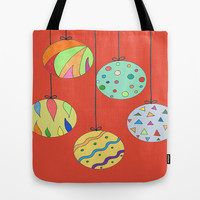 Trim the Tree Red Tote Bag by Rosie Brown | Society6