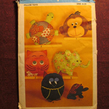 SALE Uncut/Cut 1970's Simplicity Sewing Pattern, 9740! Stuffed Pillow Toys/Kids Toys/Arts & Crafts/Stuffed Elephants/Owls/Turtles/Monkeys/Ca