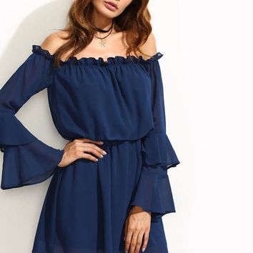 Double Flare Sleeve Elasticized Straight Dress Plain Navy Off the Shoulder Long Sleeve Sexy Dresses for Women