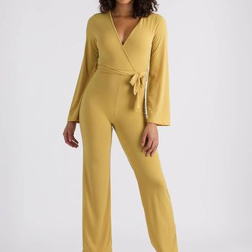 Mustard Wrap Your Head Around It Tied Jumpsuit