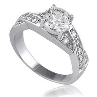 BERRICLE Sterling Silver Round Cubic Zirconia CZ Solitaire Woven Womens Engagement Wedding Ring