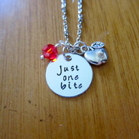 """Snow White Inspired Necklace. Poison Apple. Evil Queen Villain. """"Just One Bite"""". Snow White. Silver colored. Swarovski crystal"""