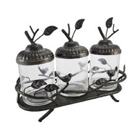 Decorative Birds and Leaves Glass Canister Set with Metal Display Tray