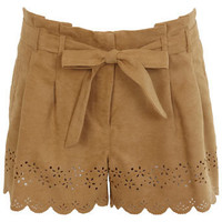 Beige Cutwork Suedette Short - Sale  Offers - Miss Selfridge