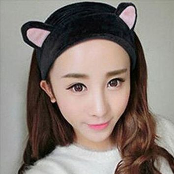 Lnrrabc   Women Girls Cat Ears Headscarf Flannel Elastic Headbands Hair For Women Hair Accessories Party Gift Headdress