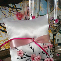 Hand painted Satin ring bearer pillow Sakura Cherry blossom theme wedding favor