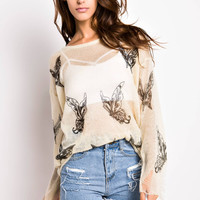 Butterfly Print Cover-up Sweater