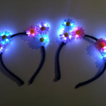 Pastel LED Cat Ears LED Kitten Ears Kitten headband Flower crown LED Headband for rave Music Festival disney rave outfit