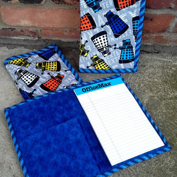 Doctor Who Dalek Quilted Notebook Cover - Brightly Colored - Reuseable - Ready to Ship