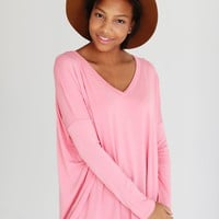 Strawberry Ice PIKO V-Neck Long Sleeve Top