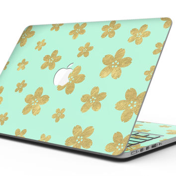 Mint and Gold Floral v7 - MacBook Pro with Retina Display Full-Coverage Skin Kit
