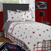 Boys Punk Animal Stars White /Gray Full Size Comforter Bed Set