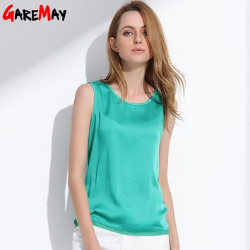 Women Summer Silk Tank Tops Ladies Blouses Mesh Cute Sleeveless Solid Color O Neck Casual T Shirt Vest Tops