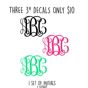 "SALE Three 3"" Monogram Decals 