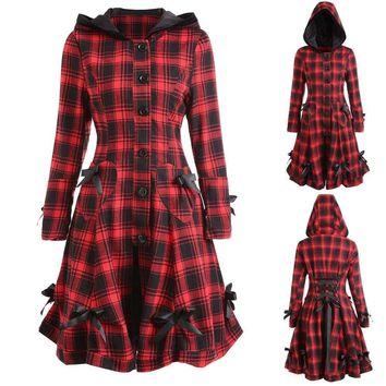 Womens Steampunk Lace Up Hooded Trench Coat Jacket Blazer Tops Plaid Outwear