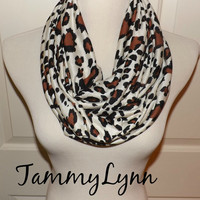 Toffee Brown Black Leopard Animal Print on Ivory Cotton Jersey Blend Knit Infinity Scarf Womens Accessories Tammy Lynns Creations