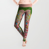 Sankta Lucia with friends light and floral santa skulls Leggings by Pepita Selles