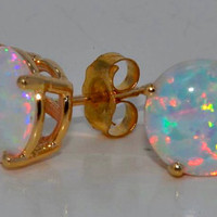 14Kt Yellow Gold Opal Round Stud Earrings