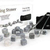 Sipping Stones Whisky Rocks - Set of 18 Pure Soapstone Whiskey Chilling Stones in Gift Box with Pouch and Tongs