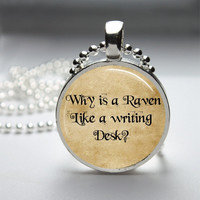 Round Glass Bezel Pendant Why Is A Raven Like A Writing Desk Pendant Alice In Wonderland Necklace With Silver Ball Chain (A3766)