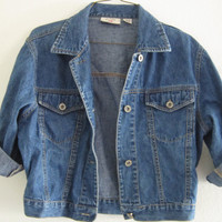 Vintage 90s classic Slighty CROPPED Medium Wash Denim Jean Oversized Grunge Punk Light Jacket