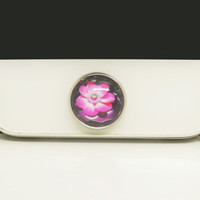 1PC Retro Epoxy Transparent Time Gems Alloy Lotus Flower Cell Phone Home Button Sticker Charm for iPhone 6, 4s,4g,5,5c Gift for Him