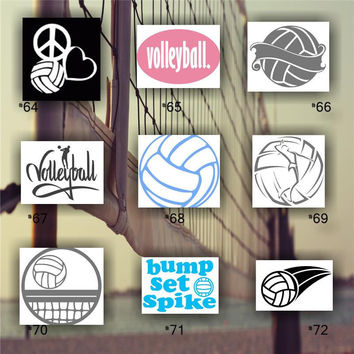 VOLLEYBALL vinyl decals - team sports decal - car window sticker - personalized volleyball sticker - #64-72 -