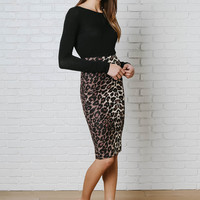 Leopard Print Pencil Skirt-FINAL SALE