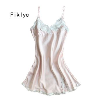 Fiklyc brand women's sexy spaghetti straps mini length nightdress nightgowns satin & lace summer nighties sleepshirts hot item