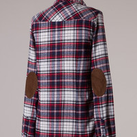 Elbow Patch Plaid Flannel - White/Navy/Red