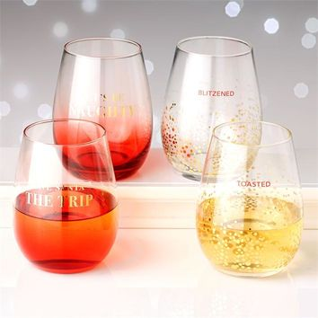 Holiday Cheers Stemless Wine Glasses - Set of 2