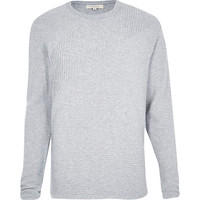 River Island MensGrey ribbed long sleeve sweater