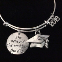 She Believed Graduation 2018 Expandable Silver Charm Bracelet Adjustable Bangle Trendy Gift Meaningful Inspirational