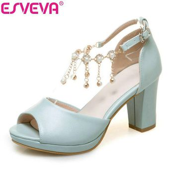 ESVEVA 2017 String Bead Ankle Strap Summer Shoes Square High Heel Women Pumps Peep Toe