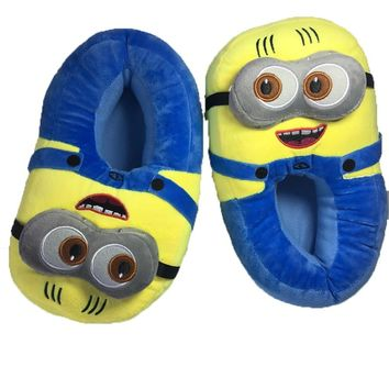 unisex shoes woman winter slippers men carton despicable me minion yellow man shoes home warm slides Cute indoor floor big size
