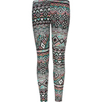 Full Tilt Bright Ethnic Print Girls Leggings Black Combo  In Sizes