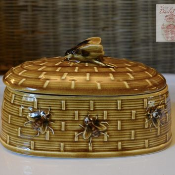 Vintage  Golden Amber Majolica Butter Dish or Covered Candy Jar Basket Weave w/ Bee on Lid