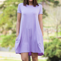 The Perfect Piko Short Sleeve Swing Dress-Lilac – Simply Dixie Boutique