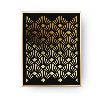 Art Deco Fans Pattern, Abstract Print Poster, Real Gold Foil, Gold Print, Geometric Print Poster,Minimalist Poster, Black Background Poster