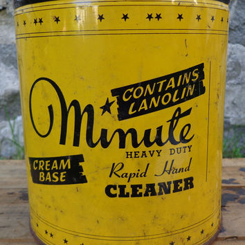 Vintage Minute Soap Co., Heavy Duty Hand Cleaner Advertising Metal Tin Petroliana Mancave - Somerville, Mass