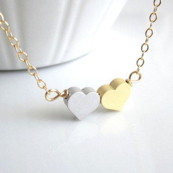 Tiny Double Heart Necklace - Mini Gold and Silver Heart on Gold Chain  by Yameyu