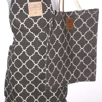 Gray White Apron & Carry Bag Tote Set 2 Home Concepts Casa Printed 100% Cotton