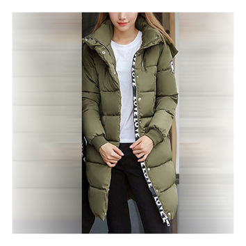 Winter Hooded Loose Middle Long Woman Down Coat  green    M
