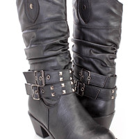 Black Studded Mid Calf Cowboy Boots Faux Leather