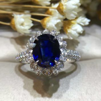 Starfield Women's 18K Gold Natural Sapphire Princess Diana and Kate Style Diamond Ring